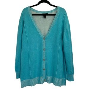 Lane Bryant 22 24 Aqua Blue Wash Out Cardigan